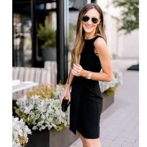 Mossimo Black Midi Dress with Faux Leather Detail